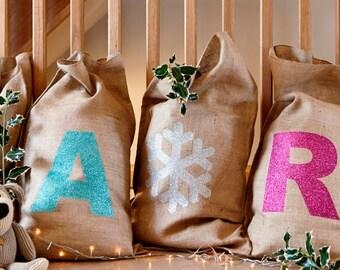 Hessian Christmas Sacks with Glitter Initials