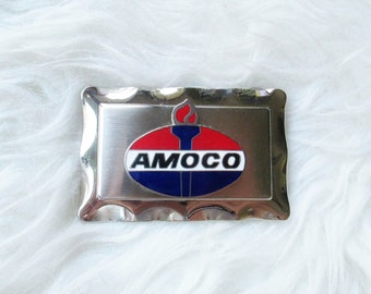 Vintage Amoco Oil Enamel Belt Buckle
