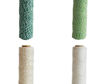 80 mt Green/Gold/Silver White Cotton Bakers Twine Spool,4 ply,Packaging,Gift Wrapping,Gift Wrap,Scrapbooking,Wedding,Birthday,Baby Shower