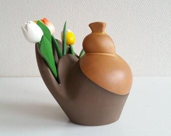 Decorative bird vase. Midcentury scandinavian danish sculpture style. Brownish modern home decor.