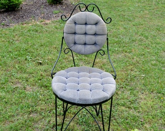 Vintage Ice Cream Parlor Chair Black Wrought Iron Upholstered Home Decor PanchosPorch