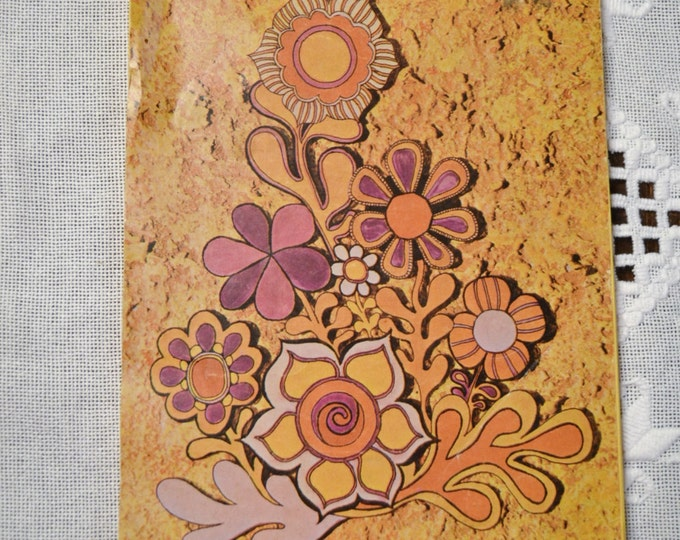Vintage Paper Stationery  Tablet Pad Gold Purple Flower Power Mod Scrap Booking Supplies PanchosPorch