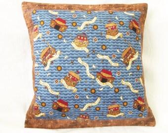 Noah Ark Pillow, 14X14 Pillow Sham, Blue Cushion Cover, Quilted sham, Quilted Cushion, Throw Pillow, Decor Pillow  Cover, Sewnsewsister