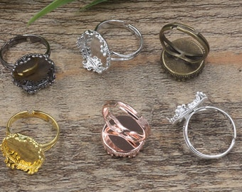 Cabochon ring blanks, adjustable base rings,15mm base,antique bronze,silver,rose gold,yellow gold,bright silver,gun black D5770