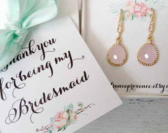 Bridesmaid jewelry set of 4 blush pink gold earrings Bridesmaid jewelry Bridesmaid Gift Blush Pink Gold Earrings