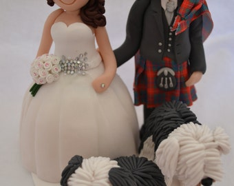 Handmade polymer clay wedding cake topper