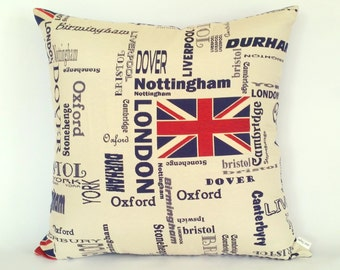 English Cities Cushion, Union Jack pillow, UK flag, British Isles, British regions, Great Britain, Oxbridge, Visit London, visit England