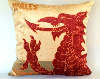 Welsh Dragon Velvet Cushion Cover, Love Wales, Welsh rugby, Welsh patriot, Welsh Dragon pillow, Welsh symbol, dragon's forked tongue, Cymru