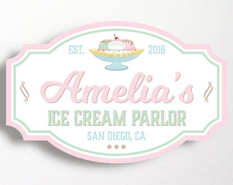 Ice Cream Party Backdrop PRINT YOURSELF Sign Ice Cream Parlor Shoppe Banana Split Sign Pink Mint Ice Cream Social Girls Birthday 20x32 Inch