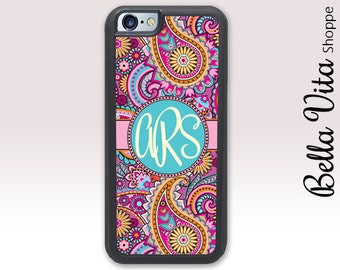 Monogram iPhone Case, Monogrammed iPhone 6 Plus Case, Personalized iPhone 6S Plus Case, Spring Pretty Pink Paisley  1185 I6P