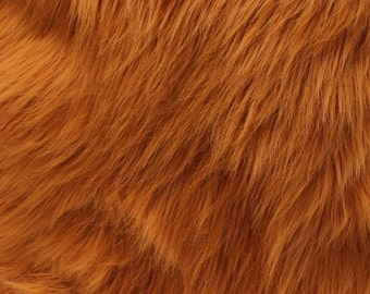 "Faux Fur Long Pile Shaggy RUST / 60"" Wide / Sold by the yard"