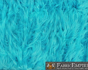 "Faux Fur Fabric Long Pile Gorilla TURQUOISE / 60"" Wide / Sold by the yard"