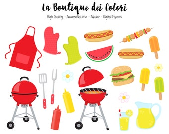 BBQ Clipart, Cute Digital illustrations PNG, Summer Barbeque, Father's day hamburgers hot dogs Clip art, Planner Stickers Commercial Use