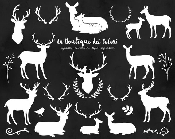 White Deer Silhouette Clipart Cute Graphics PNG Christmas