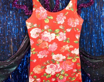 Vintage 1990s Red Floral Stretch Jersey Bodycon Short Gitano Dress M