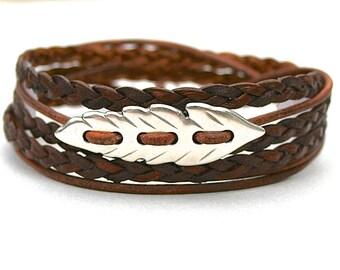 Boho LEATHER Wrap Bracelet, Solid Leaf Focal Triple Wrap Braided Leather Bracelet, Genuine Braided Leather Cord Bracelet Gift For Her, 756