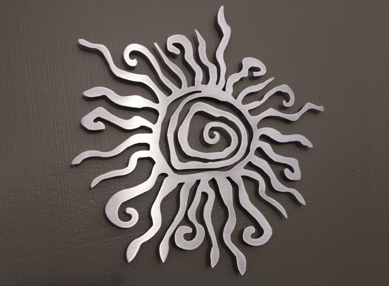 Spiral sun metal wall art metal wall decor silver sun zoom amipublicfo Images