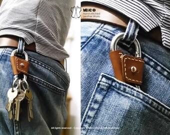 MICO Carabiner leather wrapped Key holder, key chain, key fob, karabiner