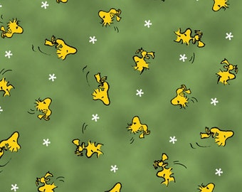 One Yard Peanuts - Snoopy the Flying Ace - Woodstock Toss in Green - Cotton Quilt Fabric - Quilting Treasures - 24014-G (W3129)