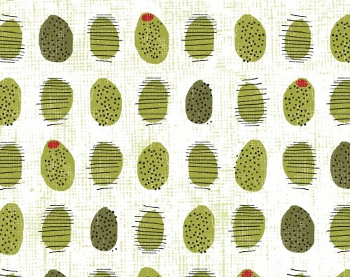 Half Yard Cooking Italiano - Green Olives in White - Cotton Quilt Fabric -Sue Schlabach for Windham Fabrics - 39403-2 (W3375)