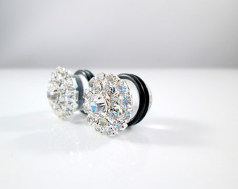 Silver Double Ring Rhinestone Sparkle Plugs - Available in 00g, 7/16 in, and 1/2 in.