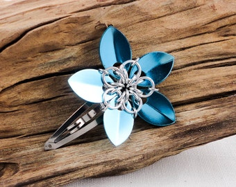 Glossy Sky Blue Hair Flower