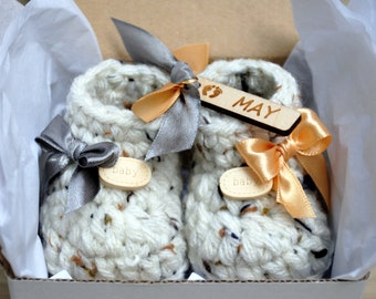 Baby Announcement To Grandparents, Wooden Month Tag, December, January, February, Baby, Miniature Booties, Keepsake Gift