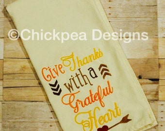 Embroidery Design: Give Thanks with a Grateful Heart Instant Download Thanksgiving Christian Saying 5x7, 6x10