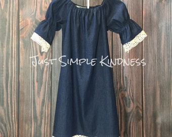Girls Dress, Girls Denim Dress Girls Lace Dress, Girls Chambray Dress Girls, Girls Fall Dress, Girls Dresses, Girls outfit, Denim Lace