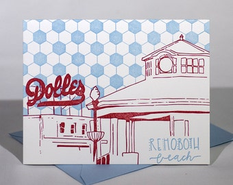 Rehoboth Beach Letterpress Card | Boardwalk | pink & blue single card with envelope