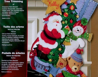 "Bucilla Tree Trimming ~ 18"" Felt Christmas Stocking Kit #86017, Santa, Snowman DIY"