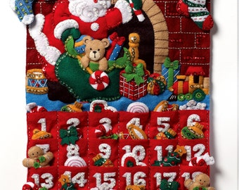 Bucilla Must Be Santa ~ Felt Christmas Advent Calendar Kit 86312 Gifts Toys 2012 DIY