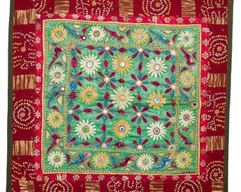 VINTAGE TEXTILE - Fine Vintage Chakla in flower and parrot design on green silk.