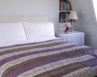 KANTHA THROW - Pink, lilac and off white. Reverse dark purple - Unique, one of a kind.