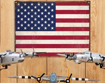 American Flag USA Metal Sign Distressed - #37115