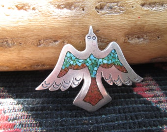 Turquoise, Coral and Sterling Silver Peyote Brooch