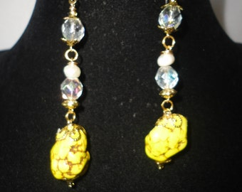 Stunning Austrian Crystals Yellow Turquoise Earrings*****.