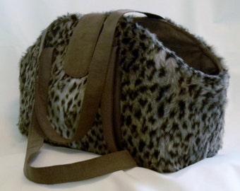 Pet Carrier - Faux Leopard-print Fur