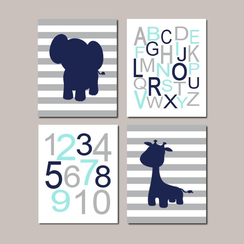 Jungle nursery wall art decor baby boy nursery decor elephant - Wall decor for baby boy ...