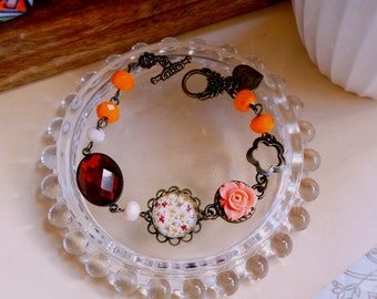 Romantic floral and crystal bezel brass charm and Cabochon flower bracelet