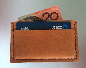 Personalised Card Wallet /Free personalisation/  Hand stitched card wallet/ Tan leather wallet / Slim Wallet / Anniversary gifts