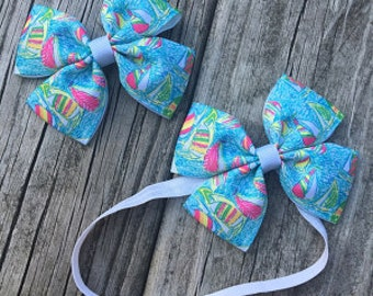 """You gotta regatta 4"""" Lilly Pulitzer inspired ALL PRINTS hair bow hairbow or headband You choose!"""