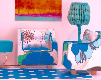 Barbie Blue, Green and White Chair