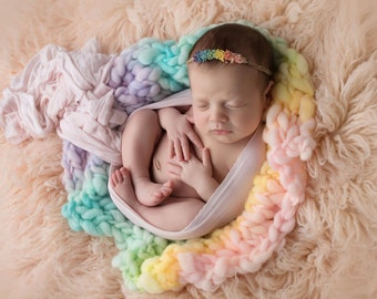 Newborn knitted blanket..  newborn photography prop...mini blanket.. thick and thin...newborn mini blanket..pastel rainbow