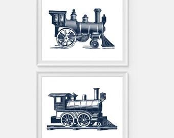 Train Art Print, Steam Train, Railroad Wall Art, Steam Locomotive Set of Two Prints Train Wall Art, Nursery Decor, Steam Engine, Train Decor