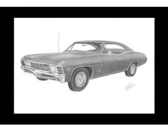 Car art drawing of 1967 Chevrolet Impala