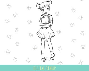 digital stamp kawaii school big sister coloring page