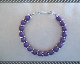 purple bracelet, dark purple bracelet, light purple, purple and silver bracelet