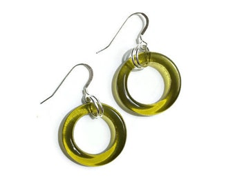 Wine Bottle Earrings - Gift for Wine Lovers - Upcycled Wine Bottle Earrings - Golden Yellow