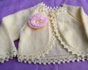 Baby girl rose bolero / baby gift/ baby shower/ cardigan